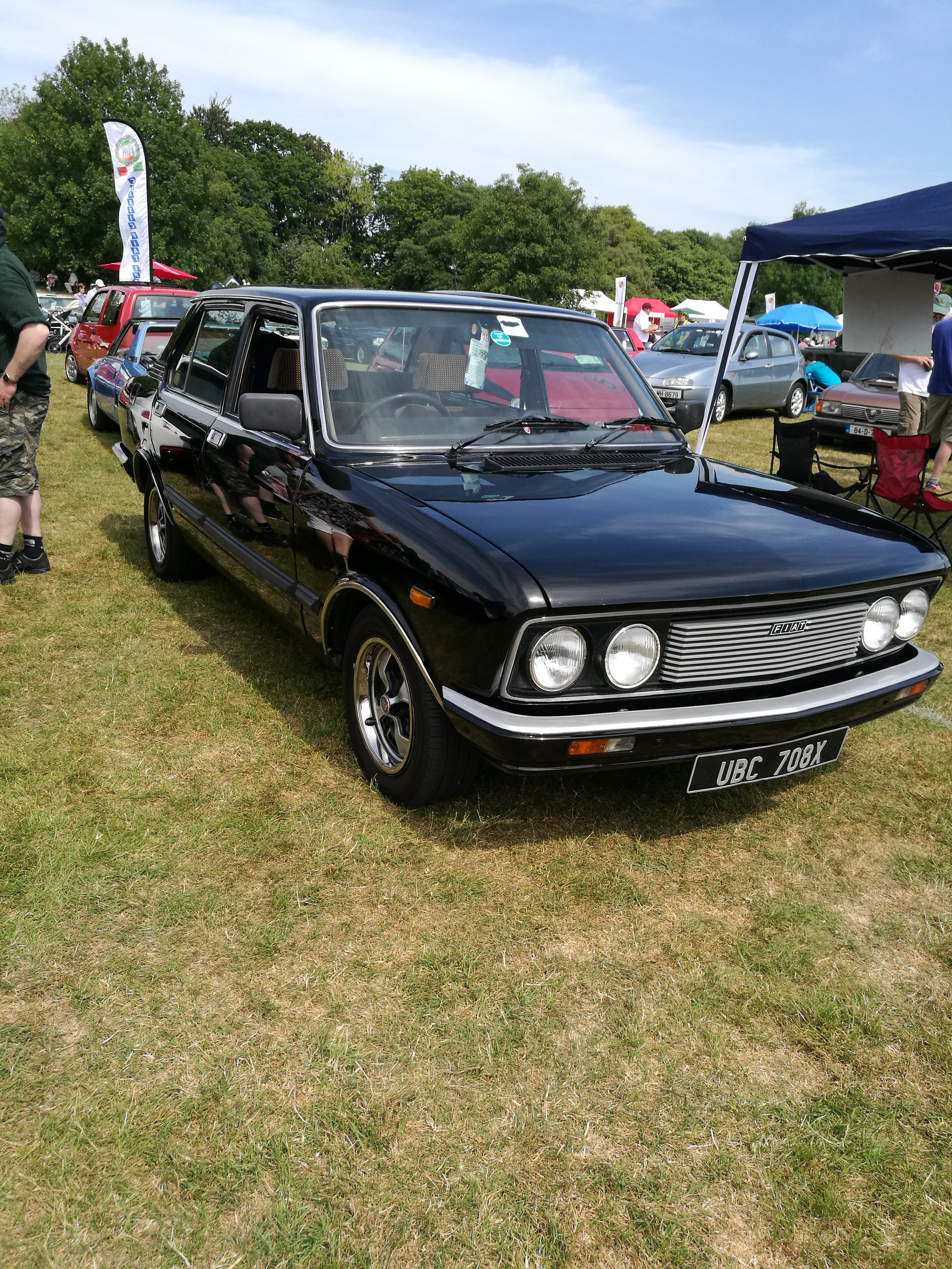 The only Fiat 132 on the stand gleaming in the sun